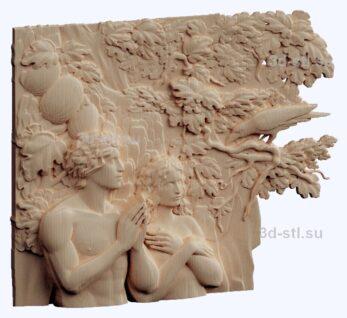 3d stl модель-Аадам и Ева панно